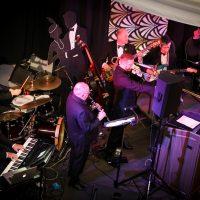 BBT rhythm section with Ken Hadley (clarinet), Robin Jessome (trombone) and Robin Habermehl (tenor sax).  Photo credit: Cameron Shaver